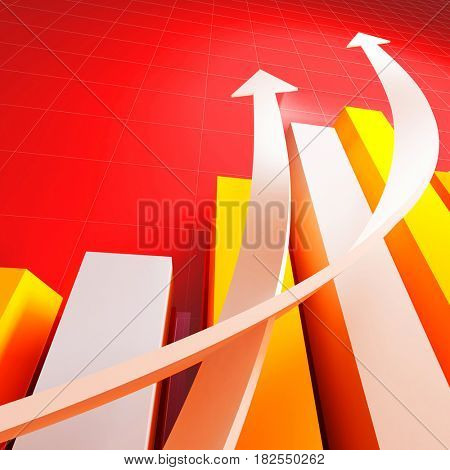 arrows and graphic chart business growing concept 3d rendering image