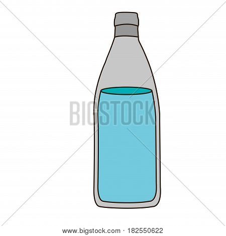 colorful silhouette with bottle of water and delineated vector illustration