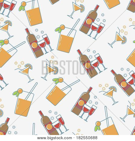 Alcohol line icon seamless pattern. Drink background. Red Wine, martini cocktail and fresh juise seamless pattern.