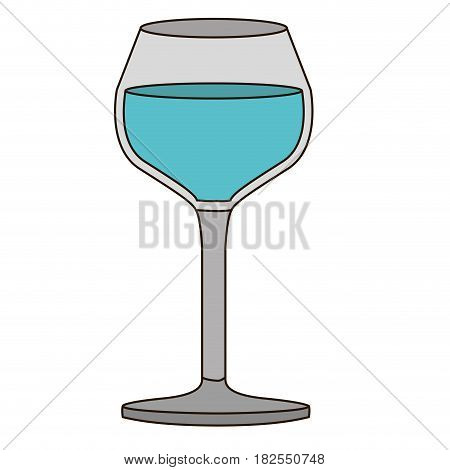 colorful silhouette of burgundy glass with water and delineated vector illustration
