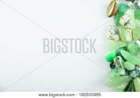 Green stones isolated on a white background