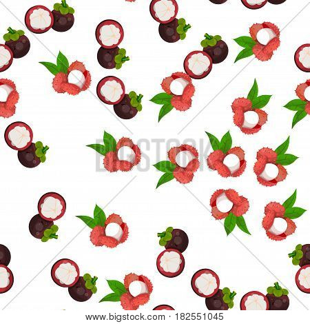 Very high quality original trendy vector seamless pattern with lychee, mangosteen, exotic tropical fruit