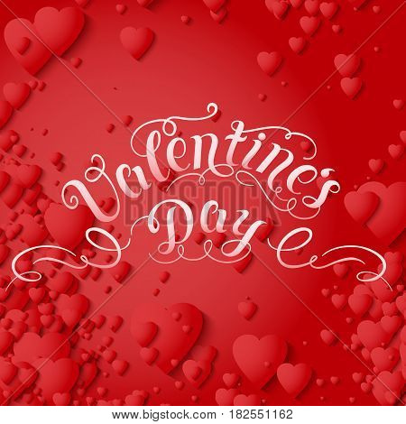 Valentine's Day vector card. Elegant volumetric red hearts with soft shadows over red background. Chain of hearts. Tender design for you gift or invitation card.