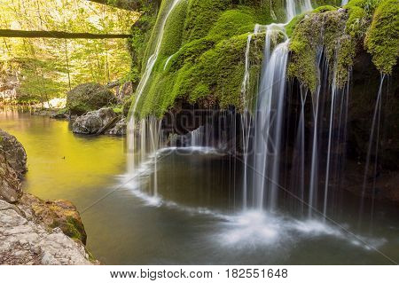 Mountain stream waterfall. Bigar mountain waterfall, Romania