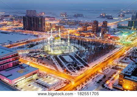 View from above on the evening mosque of Nur Astana in Astana, Kazakhstan.