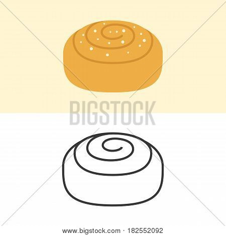 Cinnamon roll icon, flat design and outline