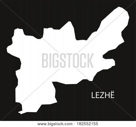 Lezhe Albania Map Black Inverted Silhouette Illustration