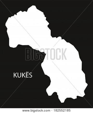 Kukes Albania Map Black Inverted Silhouette Illustration