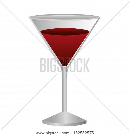colorful silhouette of drink cocktail glass vermouth with red wine vector illustration