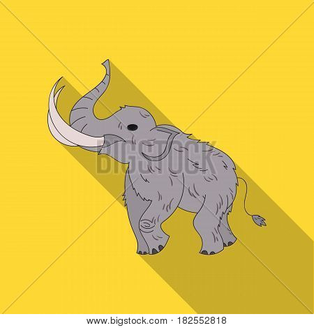 Woolly mammoth icon in flate style isolated on white background. Stone age symbol vector illustration.