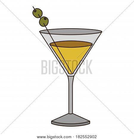 light coloured silhouette of drink cocktail glass vermouth vector illustration