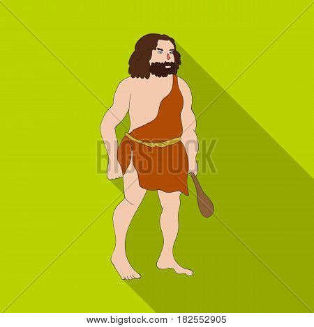 Primitive man with truncheon icon in flate style isolated on white background. Stone age symbol vector illustration.