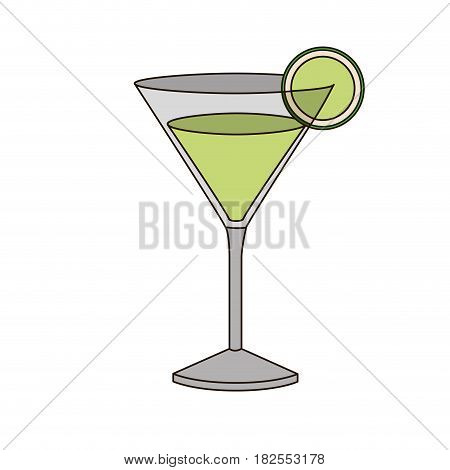 light coloured silhouette of drink cocktail glass vermouth with slice of lemon vector illustration