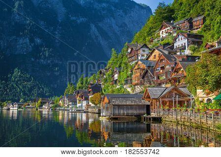 Historic Town Of Hallstatt In Summer, Salzkammergut, Austria