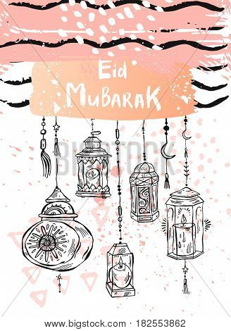 Eid Mubarak letteringhand draw abstract greeting background.Holidaymuslim community festival greeting card template