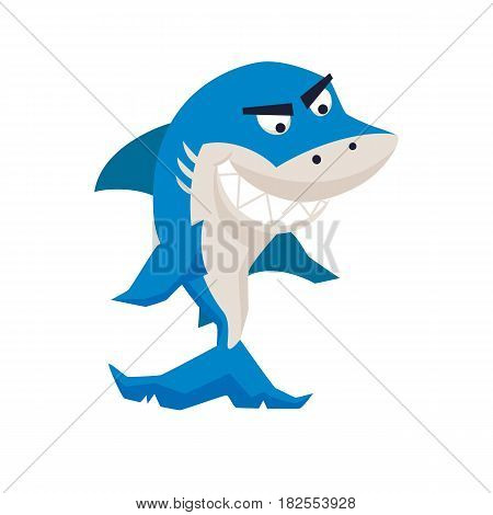 Cool shark. Funny monster print. Cute vector illustration. Comic sea character.