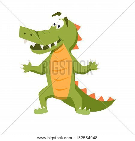 Cool crocodile. Funny monster print. Cute vector illustration. Comic sea character.