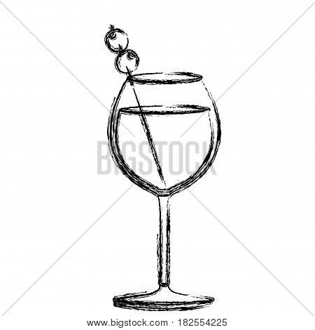 monochrome sketch silhouette of burgundy glass cocktail with olive fruit vector illustration