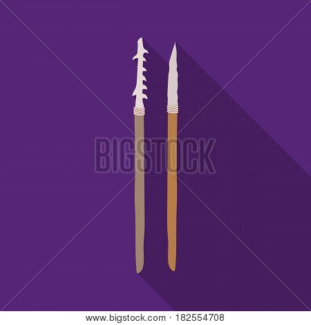 Stone spears icon in flate style isolated on white background. Stone age symbol vector illustration.