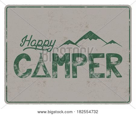 Happy camper poster template. Tent, mountains and text sign. Retro colors design. Hiking emblem. Stock vector isolated on white background.