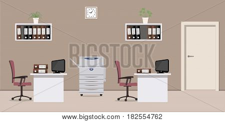 Office room in a cocoa color. There are white tables, purple chairs, a copy machine, computers, shelves with folders and other objects in the picture. Raster copy.