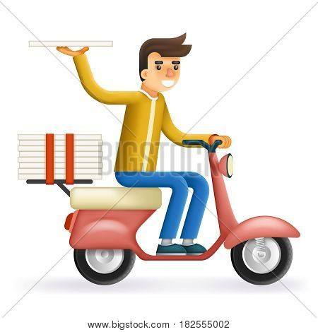 Pizza Delivery Courier Motorcycle Scooter Box Symbol Icon Concept Isolated Stylish Background Flat Design Vector Illustration