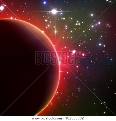 Abstract vector red background with planet and eclipse of its star. Bright star light shine from the edge of a planet. Sparkles of stars on the background.