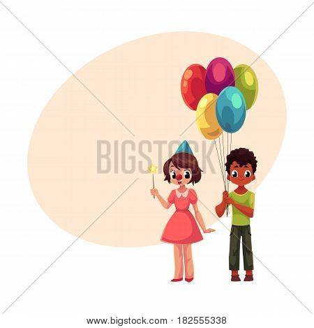Black boy with bunch of balloons and caucasian girl in birthday cap, cartoon vector illustration with space for text. Two kids, boy and girl, holding birthday balloons and star stick