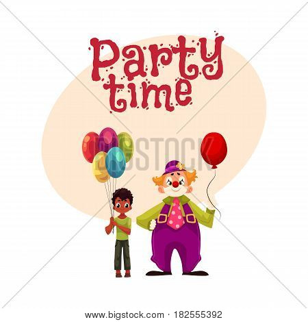 Black, African American boy holding balloons standing with funny clown, cartoon style invitation, banner, poster, greeting card design. Party invitation, advertisement, boy and man in clown costume