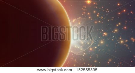 Abstract vector orange background with planet and eclipse of its star. Bright star light shine from the edge of a planet with a protuberance. Sparkles of stars on the background.