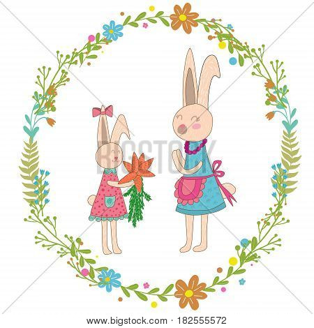 Mothers day greeting card.Baby rabbit gives mom carrots, Wreath of flowers.Cute hand drawn animal characters for kids design.