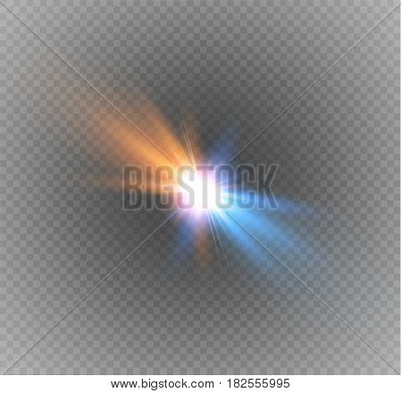 collision of two forces on a transparent background