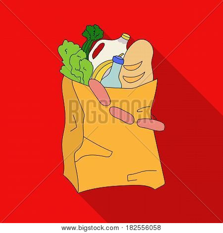 Paper bag filled with food icon in flate design isolated on white background. Supermarket symbol stock vector illustration.