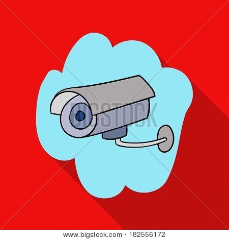 Security camera icon in flate design isolated on white background. Supermarket symbol stock vector illustration.