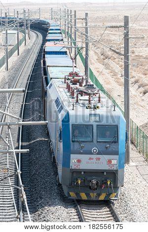 Gansu, China - Apr 13 2015: China Railways Hxd1C Electric Locomotive In Jiayuguan, Gansu, China. Hxd