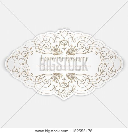 Invitation or wedding card with elegant floral elements and text. Elegant and tender gift or invitation card.