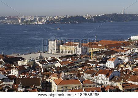 LISBON Portugal April 5 2017 : A general view of the city center of Lisbon from Saint George Castle (Castelo de Sao Jorge).