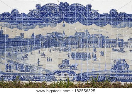 Lisbon, Portugal, April 5, 2017 : Praca Do Commercio Landscape On Azulejos Of St Luzia Church. Azule