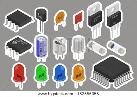 Isometric Electronic components stickers icons set. Electrical components collection sticker