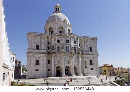 Lisbon, Portugal, April 8, 2017 : Pantheon In Alfama. Alfama Is The Oldest District Of Lisbon, Sprea