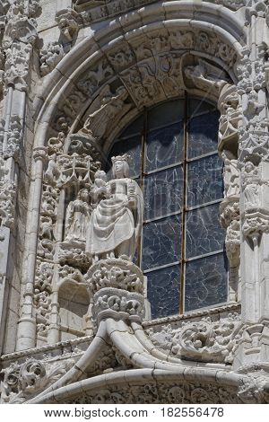 Lisbon, Portugal, April 6, 2017 : South Portal Of Jeronimos Monastery. One Of The Most Prominent Exa