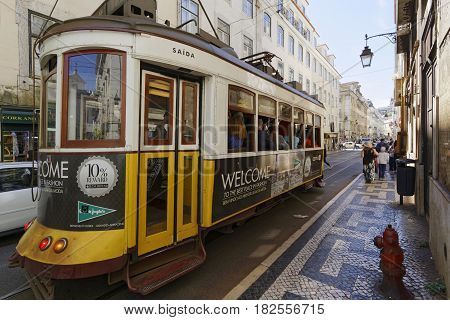 Lisbon, Portugal, April 5, 2017 : Tramway In Lisbon City Center. The Tramway Network Serves The Capi