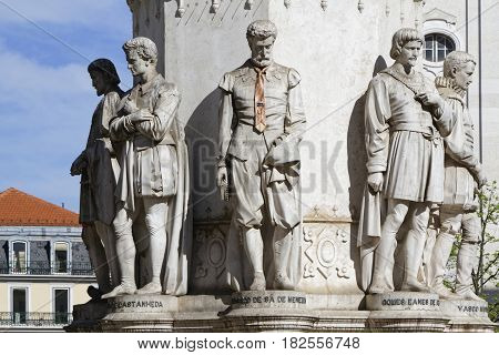 Lisbon, Portugal, April 5, 2017 : Praca Luis Da Camoes Statues. The Octogonal Monument Camoes Is One
