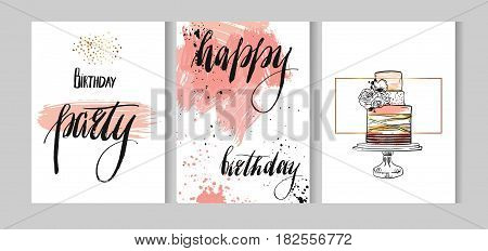 Set of birthday greeting abstract textured cards set design with handwritten lettering Happy birthday and birthday party with cake in pastel and gold colors isolated on white background.