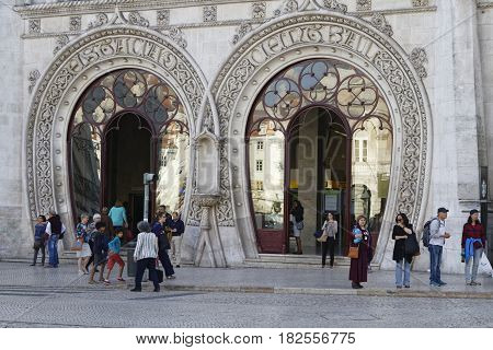 Lisbon, Portugal, April 5, 2017 : Rossio Railway Station. The Facade Dominates The Northwest Side Of