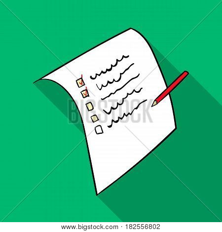 Shopping list icon in flate design isolated on white background. Supermarket symbol stock vector illustration.