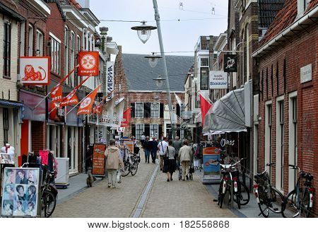 FrieslandFranekerjuly 2016: : a shopping street in the centre