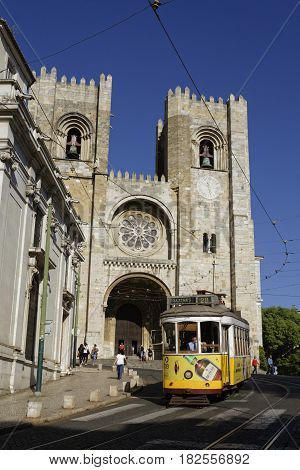 Lisbon, Portugal, April 7, 2017 : Traditional Tramway In Front Of Se Cathedral. The Tramway Network