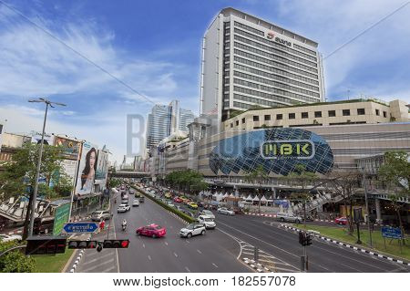 BANGKOK THAILAND - MAY 16: Cityscape of the outside of MBK Shopping Center. MBK Shopping Center is one of the most popular shopping malls in Bangkok.