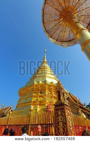 CHIANG MAI THAILAND - JAN 31 2015: Golden pagoda in Wat Phra That Doi Suthep. Thai pagoda is the most famous in Chiang Mai province Thailand.